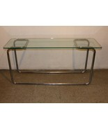 Vintage 60s Mid Century Modern MCM Glass Chrome Table Sofa Table Console... - £556.38 GBP