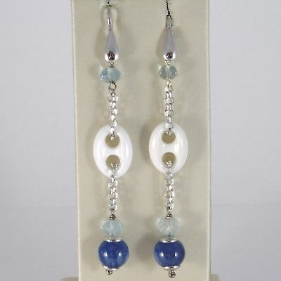 925 STERLING SILVER PENDANT EARRINGS WITH WHITE AGATE, AQUAMARINE AND KYANITE