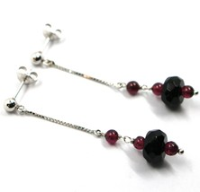 18K WHITE GOLD PENDANT EARRINGS, ONYX DISC, GARNET SPHERE, LENGTH 2.2 INCHES image 2