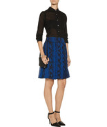 New Womens 4 PROENZA SCHOULER Pleated Snake Print Silk Chiffon Skirt Blu... - $832.50