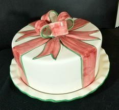 Covered Porcelain Cake Plate Ivory With Pink/Green Bow Accents Made in P... - $63.70