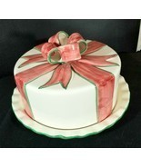 Covered Porcelain Cake Plate Ivory With Pink/Green Bow Accents Made in P... - $57.33