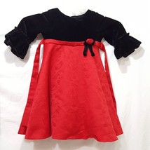 Christmas Dress Black Velvet Red Satin Size 4T 4 Girls Good Lad Flowers - $10.56