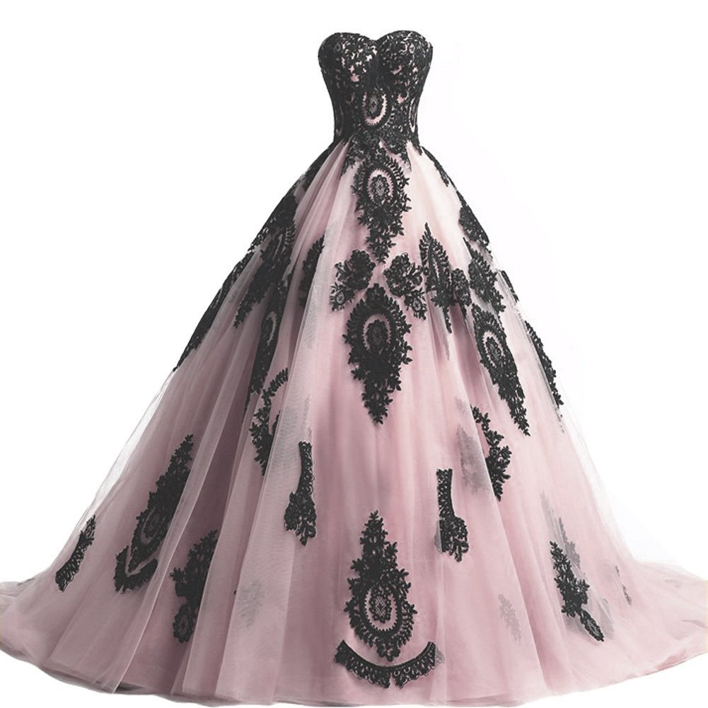 Primary image for Kivary Long Ball Gown Black Lace Gothic Corset Formal Prom Evening Dresses Pink