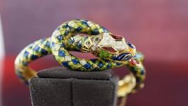 18k Yellow gold DIAMOND SNAKE BANGLE BRACELET ENAMEL GREEN BLUE RED MULTI - $8,438.25