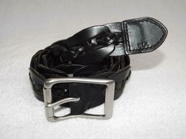 LAUREN BY RALPH LAUREN BRAID BELT SILVER BUCKLE LEATHER SZ M NWT $68 - $17.27