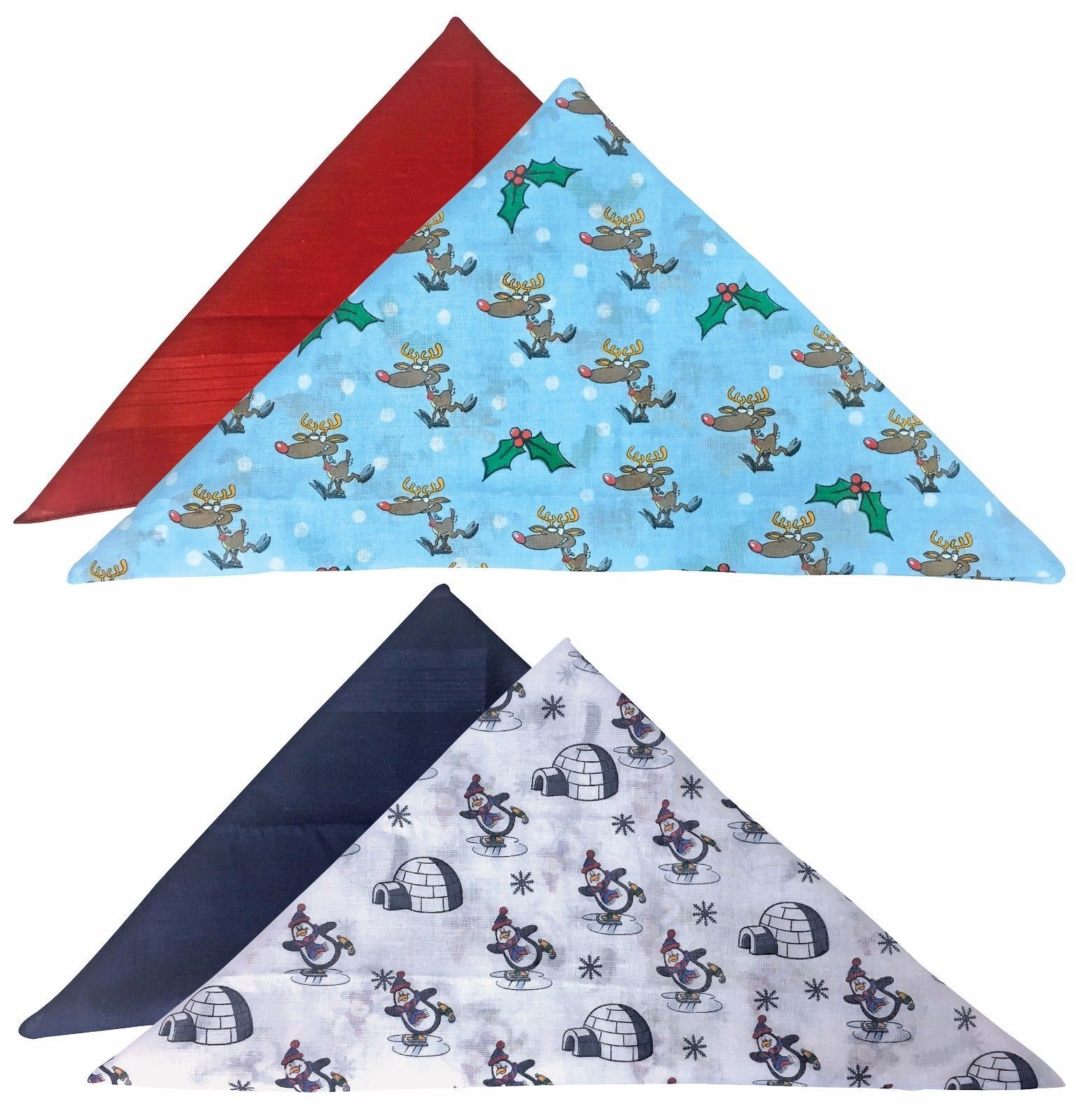 2 Pack Mens Novelty 100% Cotton Soft Christmas Handkerchiefs Hankies for Xmas
