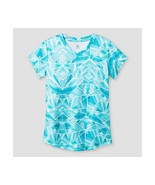 c9 by Champion Girls V-neck Printed Tech T-shirt Turquoise Blue XS 4-5 - $2.15