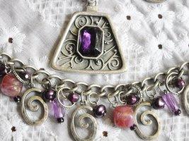 Vintage Necklace & Dangle Charm Bracelet Faux Stone & Pearl Purple Rhinestone image 2