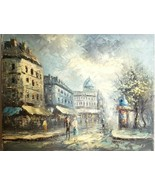 VTG ORGl Oil Painting Listed Artist Caroline Burnett Abstract Paris Stre... - $175.00
