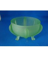 Satin Green Vaseline glass vanity powder jar. - $15.00