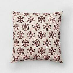 Woven Snowflake Oversize Square Throw Pillow White/Red - Threshold -new sealed