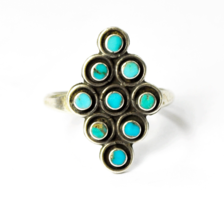 Vintage Handcrafted Sterling Round Dot 9 Tiered Turquoise Ring 21mm Size 6 - €90,51 EUR