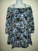 Children's Place Girls Dress Size XL 14 Blue Rose Cold Shoulder Ruffles ... - $21.77