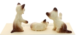 Hagen-Renaker Miniature Cat Figurine Siamese Kittens 3 Piece Set Chocolate Point image 2