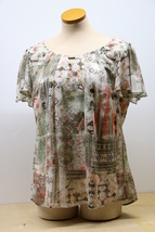 Rebecca Malone 1X Pastel Spring Polyester Blouse - $24.95
