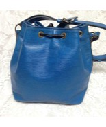Louis Vuitton Blue Epi Leather Noe PM Draw String Shoulder Bag 15in x 10... - $375.20