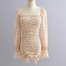 Women's Vintage Floral Double Drawstring Long Sleeve Sundress image 4