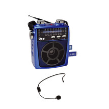 QFX Portable Pa system USB/SD and AM/FM/SW1-6 Radio 8 Band Radio- Blue - $42.43