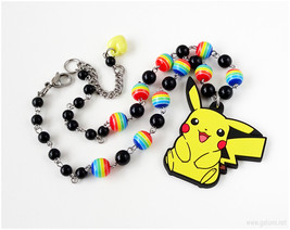 Pikachu Rubber Charm Necklace, Rainbow Jewelry, Handmade, Gamer Gifts, OOAK - $28.00