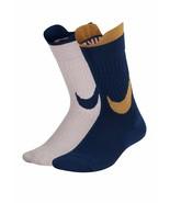 NIke Girl`s 2PK Swoosh Crew Socks Blue/Pink Small 5Y-7Y SX7311-938 - $19.99