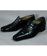 ARTIOLI Black Crocodile Combo Leather Men's Loafer Shoes Authentic Italy... - $841.49