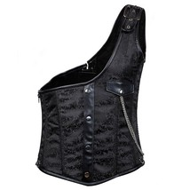 Black Brocade Buckled One-Shoulder Sleeveless Steel Boned Vintage Gothic... - $64.26