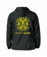 Heart Pirates of the one-piece Hooded Windbreaker Black White L size - $104.68
