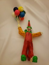 "Vintage Paper Mache Clown Holding Balloons Figurine 12"" Tall - $14.69"
