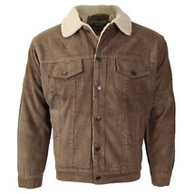 Men's Button Up Fur Lined Corduroy Sherpa Trucker Jacket Size XL New /w Defect