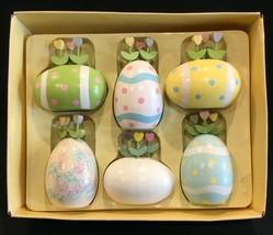 Vintage Department 56 Decorative Wood Easter Eggs Set of 6 IOB - $24.99