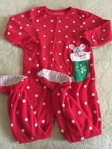 Carters Girls Red White Polka Dots Mouse Stocking Fleece Long Sleeve Paj... - $6.43