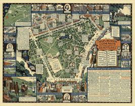 1930 Pictorial Map Boston Common Streets Beacon Hill Art Poster Print Wa... - $12.38