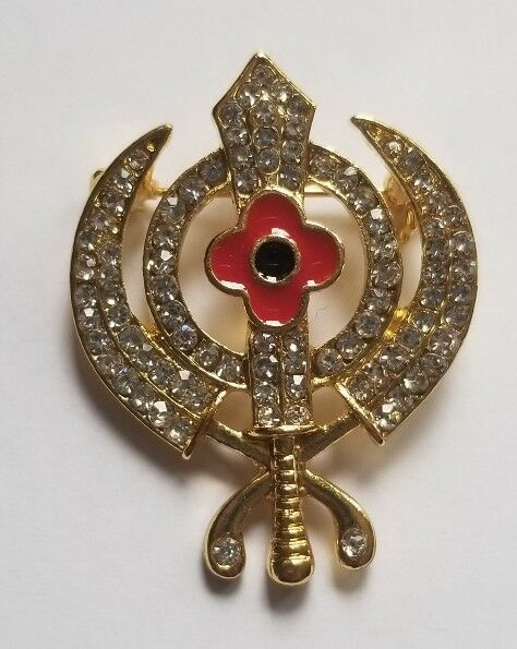 Primary image for Stunning Diamonte Gold Plated SIKH KhandaPoppy Khalsa Singh Kaur Brooch Pin Gift