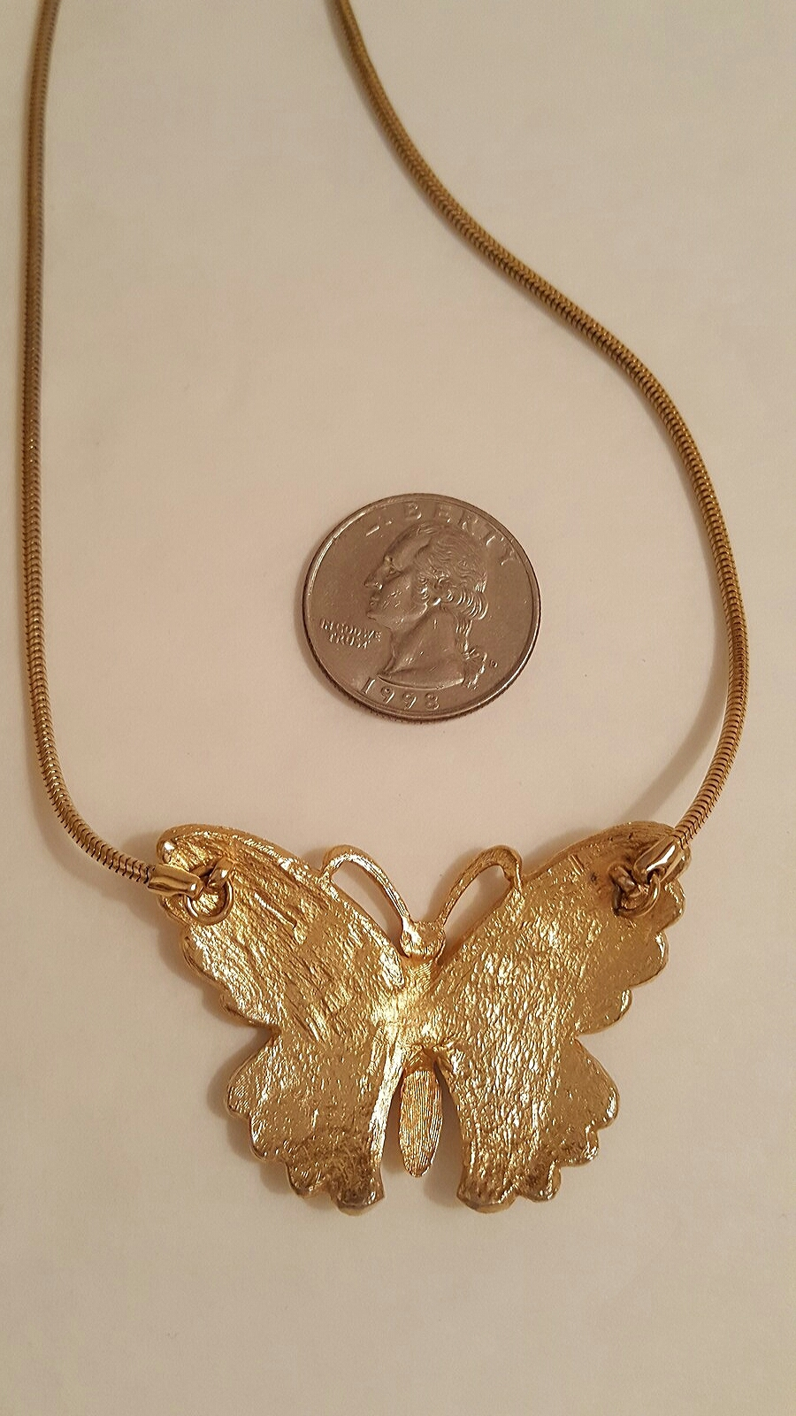 Retro Gold Tone Enameled Butterfly Choker Necklace