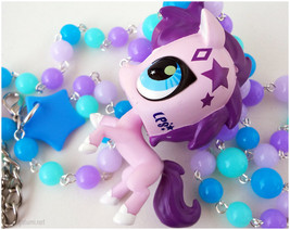 Pink Pony Necklace, Upcycled Littlest Pet Shop Figure on Beaded Colorful... - $29.00