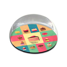 "Illustrated Desserts Pattern Art Gift 2"" Crystal Dome Magnet or Paperweight - $15.99"