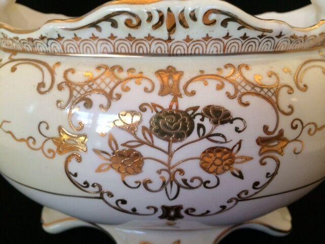 Red Letter Japan Urns Footed Bowl 3 Piece Set Gold Floral Design White Cream
