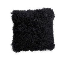 Mongolian Tibetan Black Lambskin Sheepskin Fur Cushion Pillow Cover 40cm 60cm - $137.80+