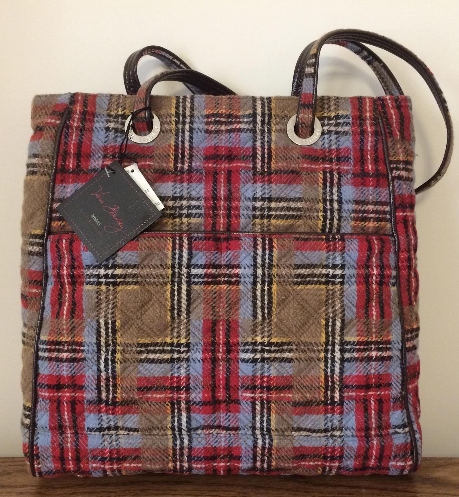 Vera Bradley Three Pocket Tote Patchwork Plaid Bag Zippers Nwt Unused Retired