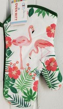 "Jumbo Printed Kitchen 12"" Oven Mitt, FLAMINGOS & GREEN LEAVES, w/ green ... - $7.91"