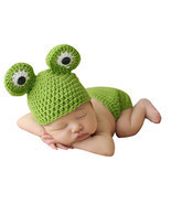 born Photography Props Infant Crochet Frog Baby Caps Hats Costume Fotogr... - ₨423.21 INR
