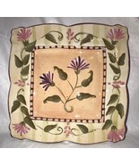 222 Fifth IBIZA Square Dinner Plate 3939689 Scalloped Edges Floral Vine ... - $17.99