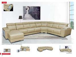 8312 Sectional Sofa Full Top Grain Italian Leather Chic Modern Slide Seat Left