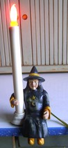 VINTAGE~HALLOWEEN~WITCH SHELF SITTER~CANDLESTICK LIGHT~LAMP~CRESSWELL CO... - $14.01