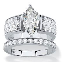 3.01 TCW Marquise-Cut Platinum over .925 Silver Cubic Zirconia Bridal Ri... - $49.99