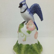 2001 Avon Blue Jay Bird Collectible Bell Morning Glory Flowers 6 inch Tall - $18.42