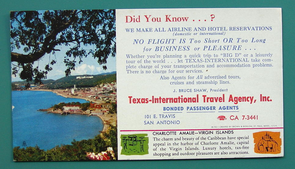 INK BLOTTER 1950s - Charlotte Amalie Virgin Islands + AD Texas Travel Agency