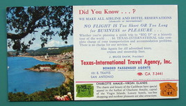 INK BLOTTER 1950s - Charlotte Amalie Virgin Islands + AD Texas Travel Ag... - $4.28