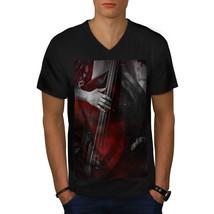 Jazz Bass Art Old Music Shirt Bass Player Men V-Neck T-shirt - $12.99+